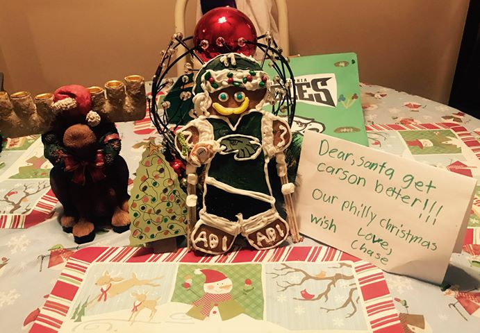 Gingerbread Wentz, outfitted with makeshift crutches.