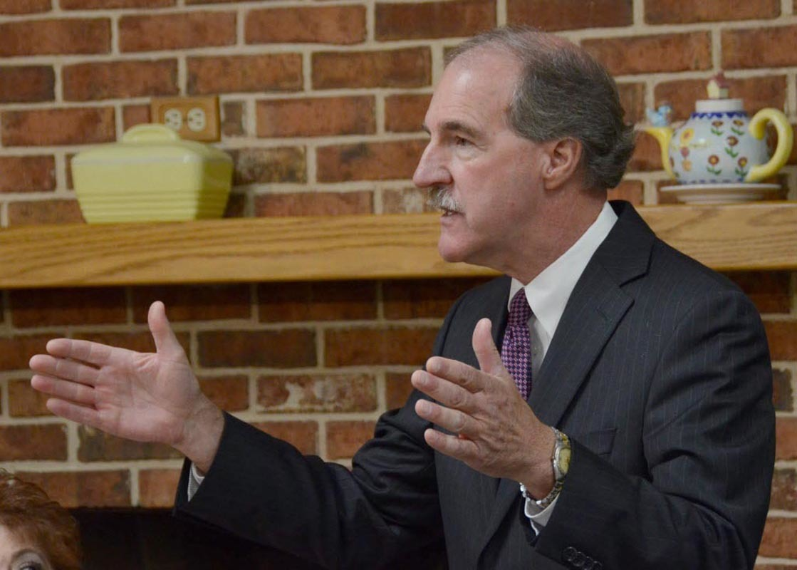 Larry Wittig, chairman of the state board of education, during a meeting with Gov. Tom Corbett on July 17, 2014.
