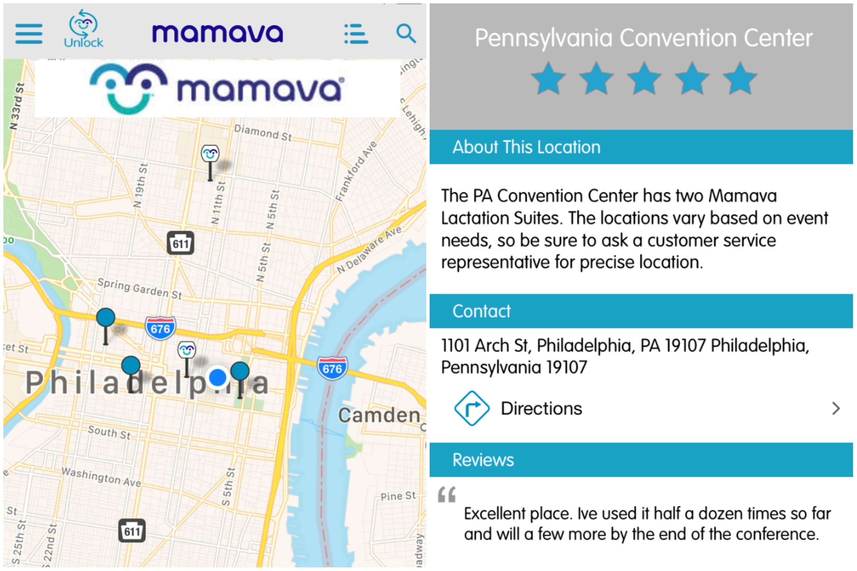 Screenshots from the Mamava iOS app