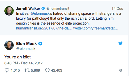 This was the Twitter exchange better SEPTA consultant Jarrett Walker and Tesla´s billionaire CEO Elon Musk after Musk disparaged urban mass transit systems.