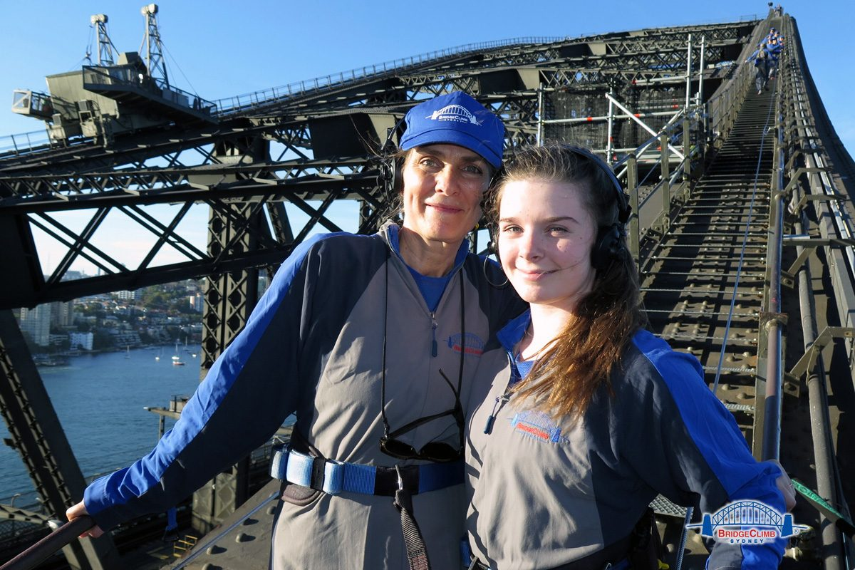 Brigid Schulte (left) and her daughter, Tessa Bowman, near the top of the Sydney Harbor Bridge, the tallest steel-arch bridge in the world.
