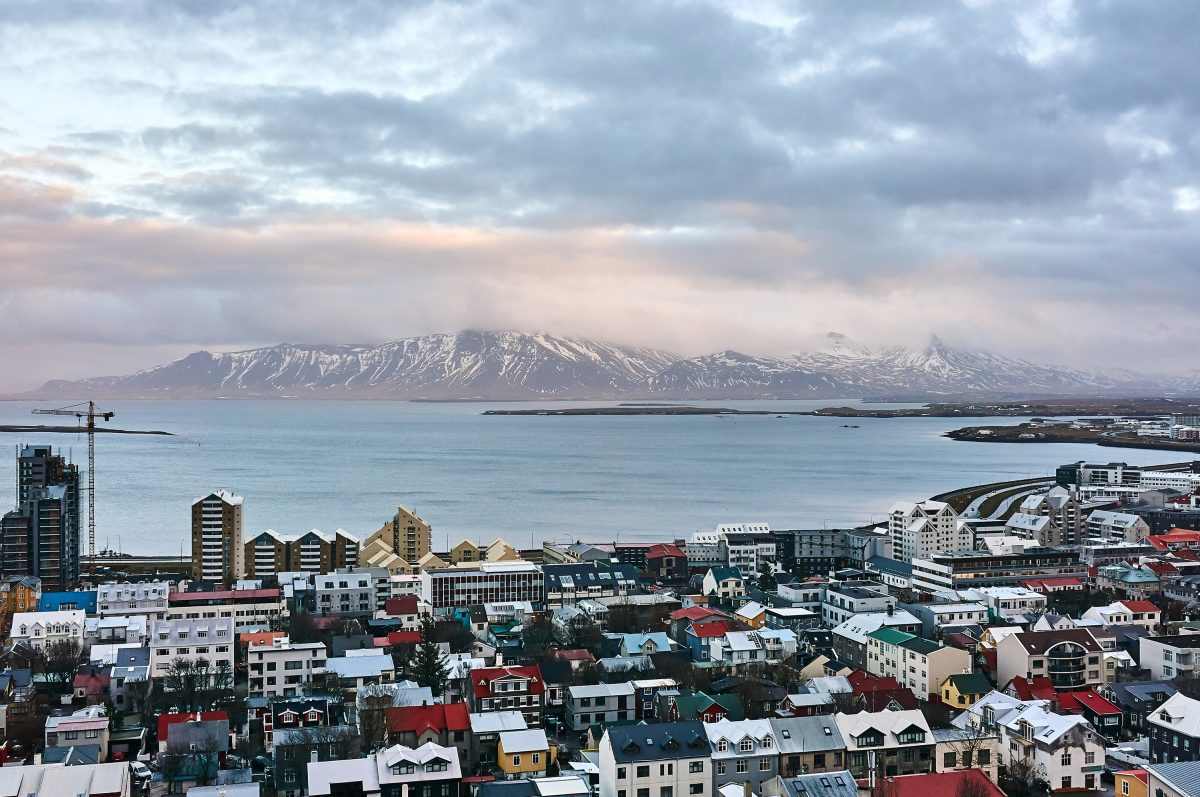Reykjavik, Iceland on Jan. 22 2016, as seen from the tower of Hallgrimskirkja church.