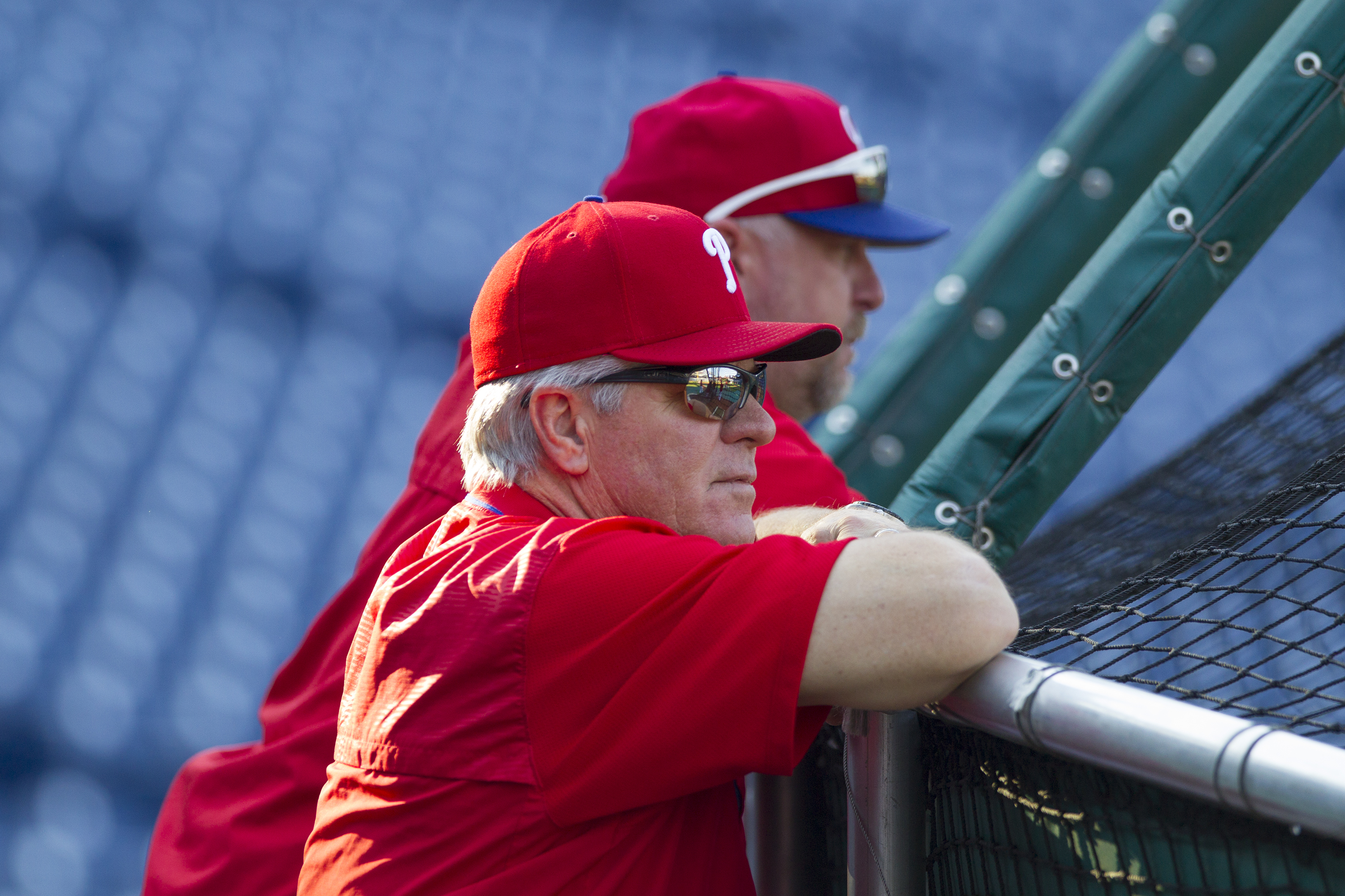 The Phillies announced on Sept. 29, 2017, that Phillies Manager Pete Mackanin will not return next year as manager but have an advisory role in the organization. Mackanin is shown during batting practice before tonight's game against the Mets.