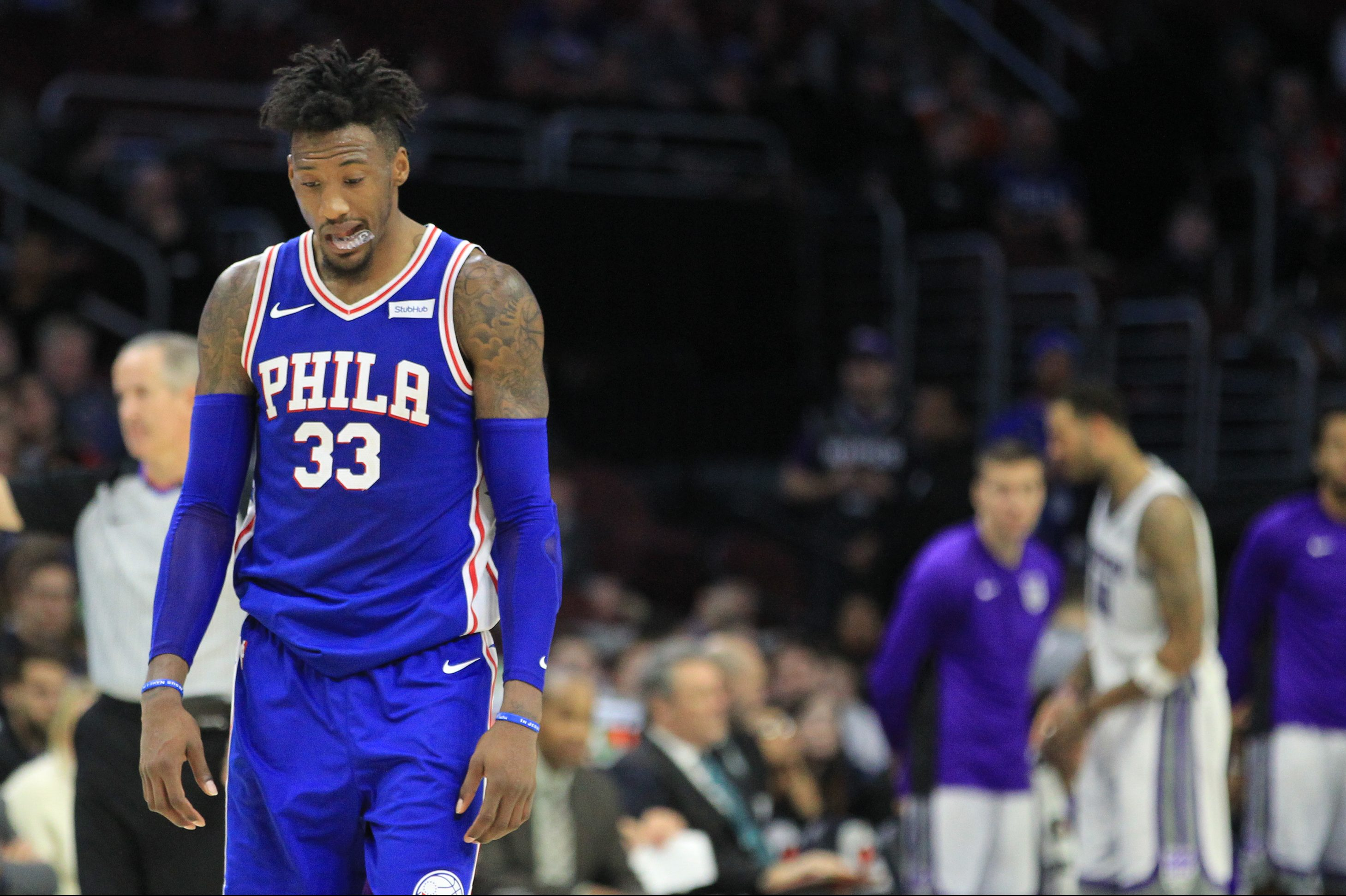 Robert Covington of the Sixers has struggled with his shooting of late.