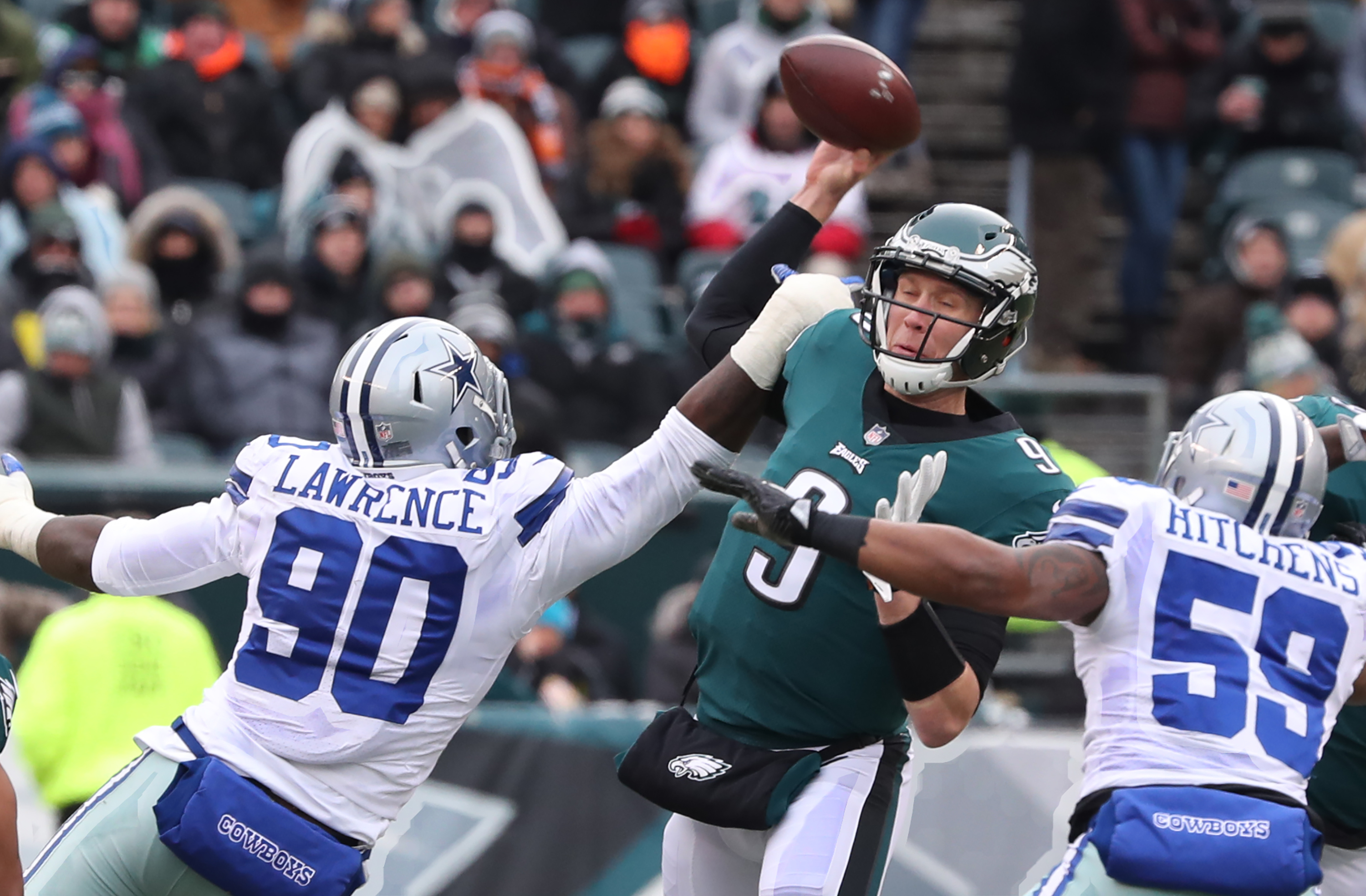 Nick Foles enters the playoffs after two uninspiring performances. MICHAEL BRYANT/ Staff Photographer