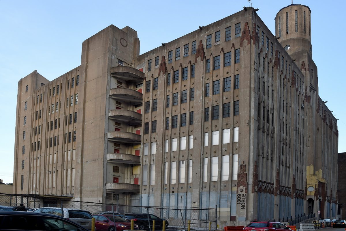 The art deco Lasher Printing Company building on Noble Street, across from the new Reading Viaduct park, is still a working industrial building.