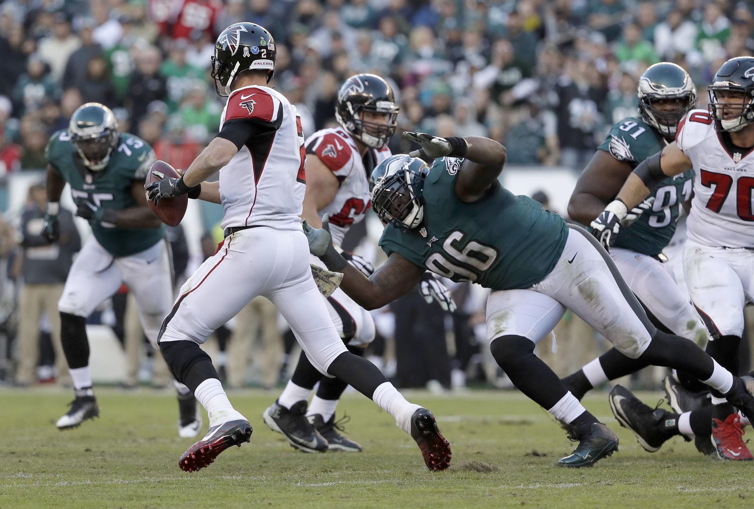 Eagles´ defensive tackle Bennie Logan goes after Atlanta Falcons´ quarterback Matt Ryan on Sunday, November 13, 2016 in Philadelphia. YONG KIM / Staff Photographer