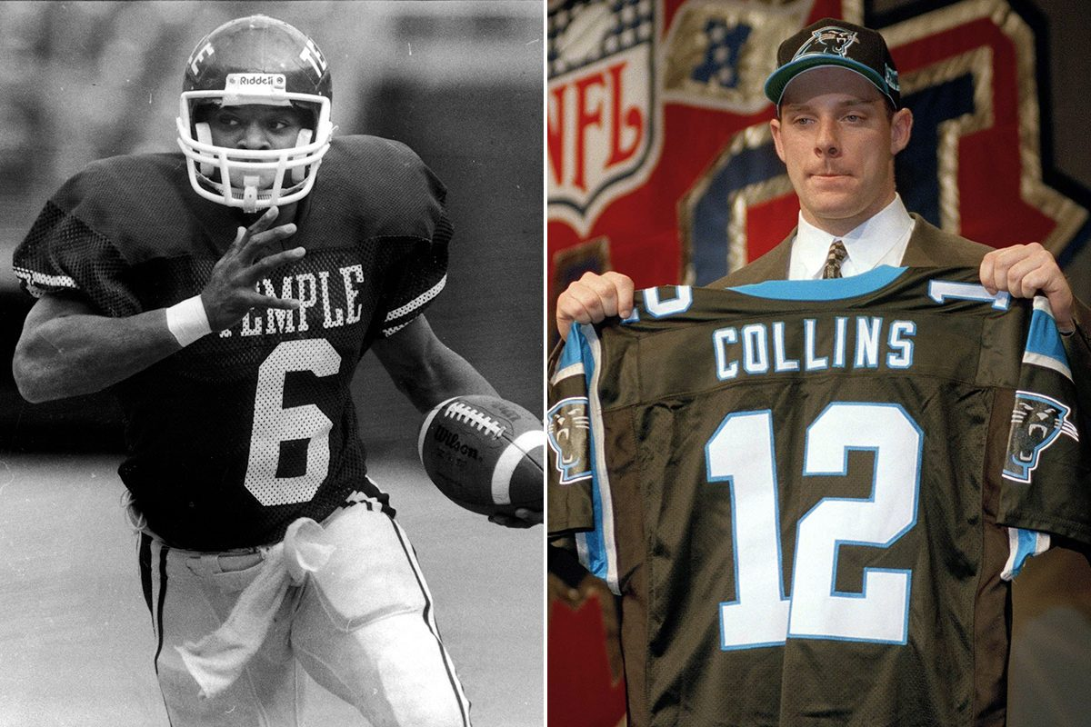 Paul Palmer, left, running the ball for Temple, and Kerry Collins, on draft day in 1995.