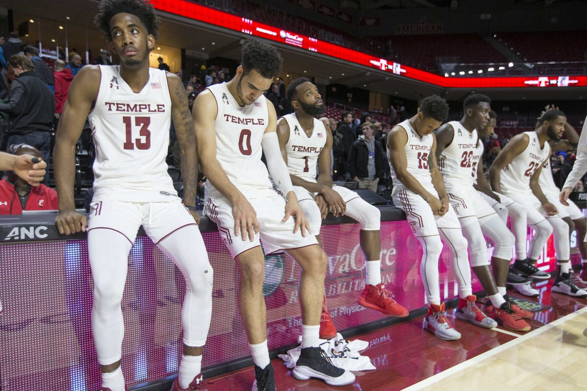 Temple sit dejected following their 55-53 loss to Cincinnati  at the Liacouras Center at Temple University on Jan 4, 2018.