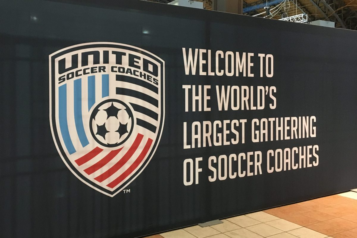 Final preparations are underway at the Pennsylvania Convention Center for the upcoming United Soccer Coaches convention.