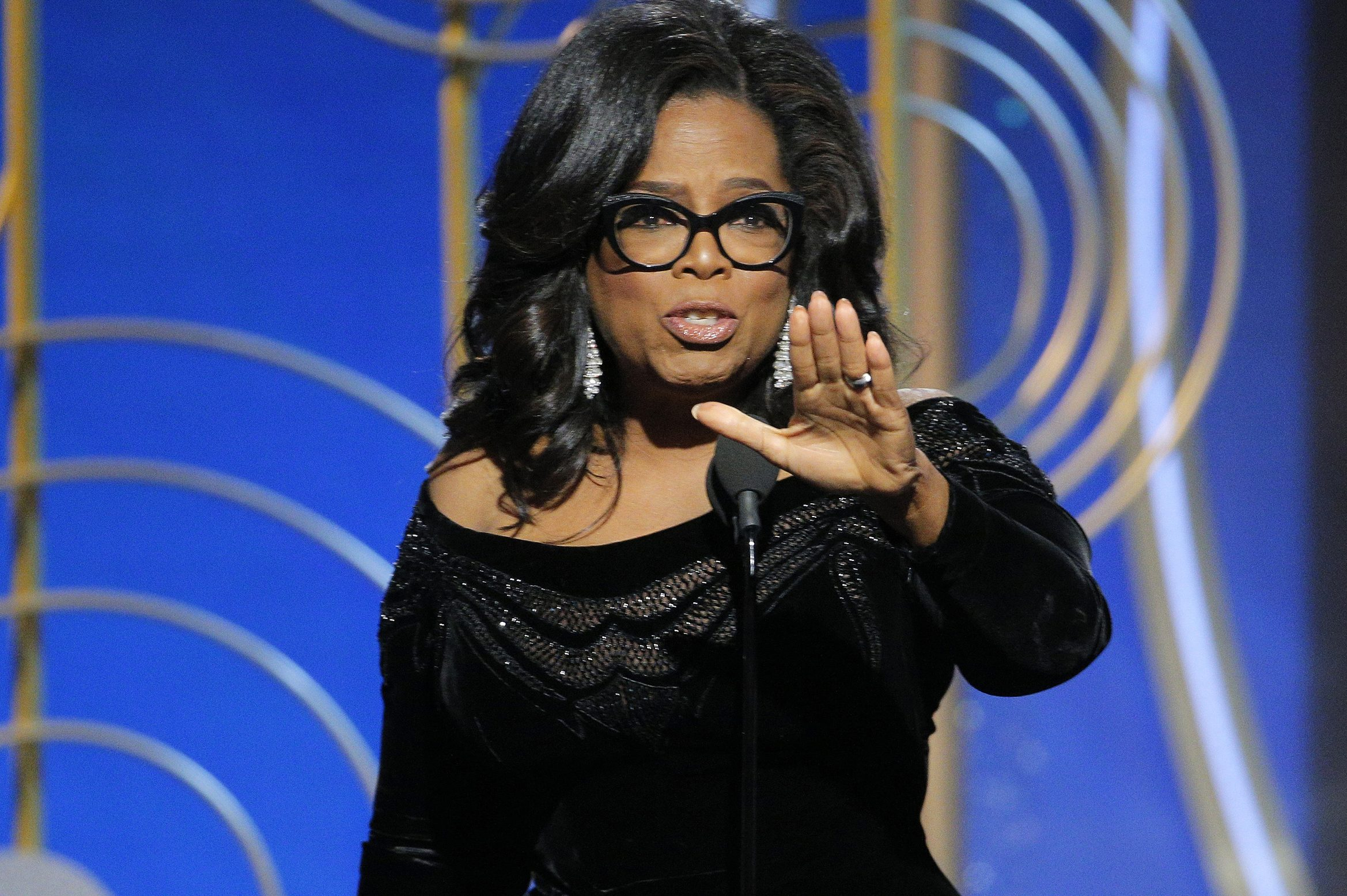 Oprah Winfrey accepting the Cecil B. DeMille Award at the 75th Annual Golden Globe Awards in Beverly Hills on Sunday.
