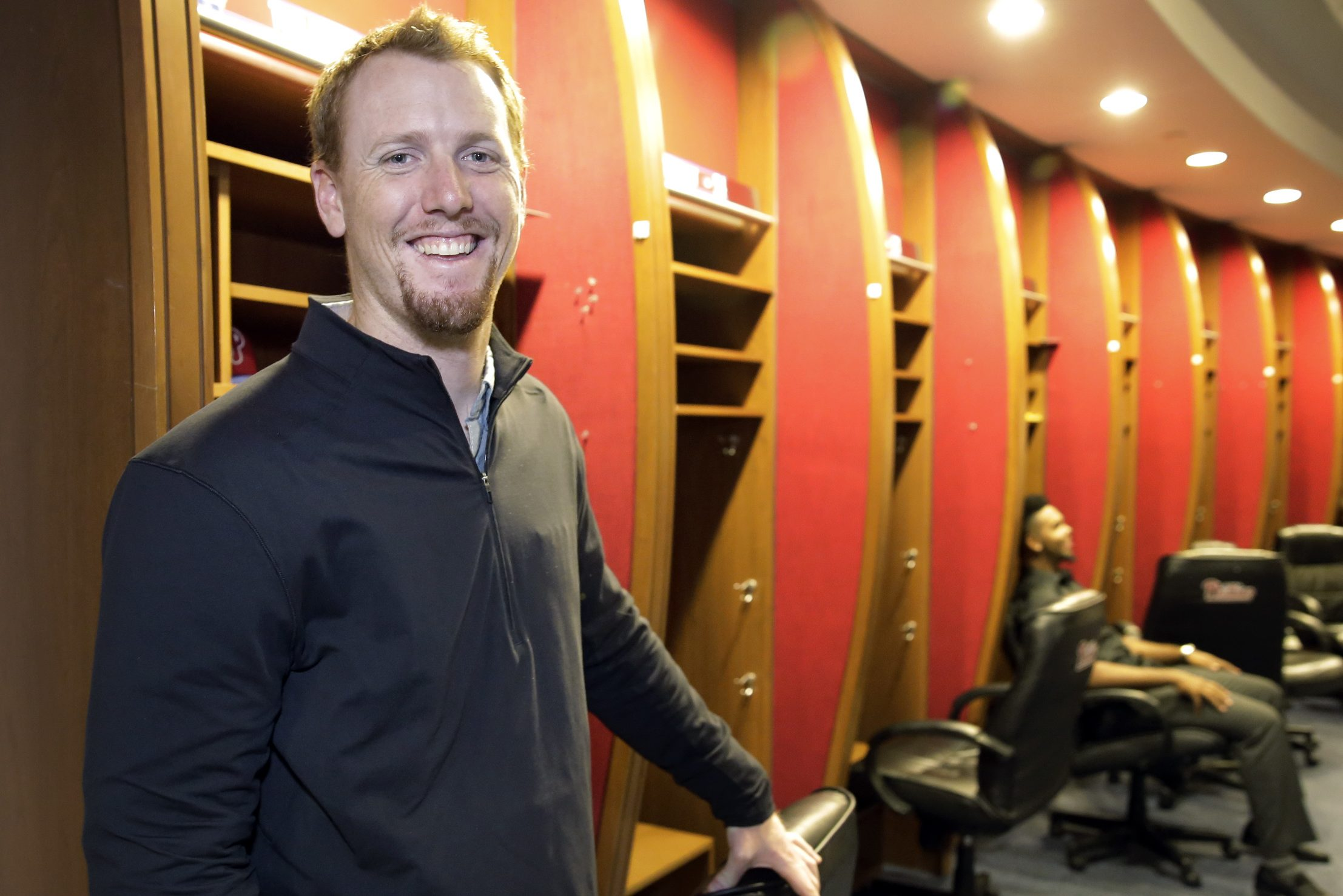 Tom Eshelman in the Phillies Clubhouse at Citizens Bank Park on Wednesday. Nine selected Phillies minor-league players are currently in Philadelphia attending the club's annual Prospect Education Program this week. The four-day program consists of various seminars with front office executives, representatives and guest speakers, including former Phillies players.
