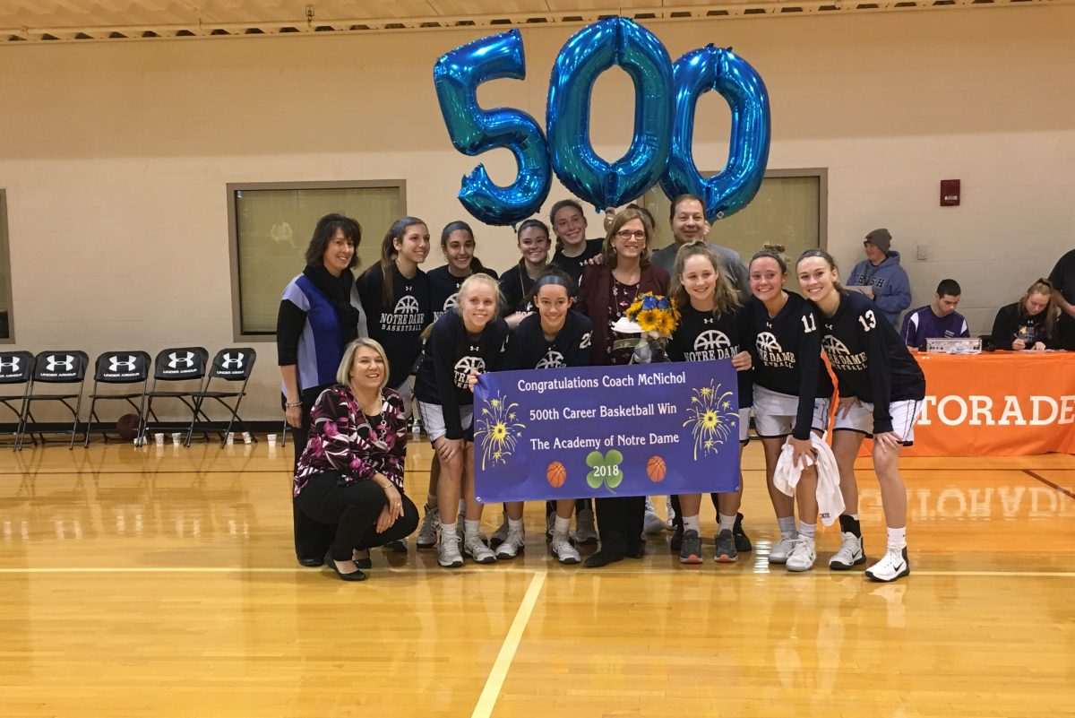 Academy of Notre Dame knocked off Mount St. Joseph, 58-41, on Sunday to give coach Mary Beth McNichol career victory No. 500.