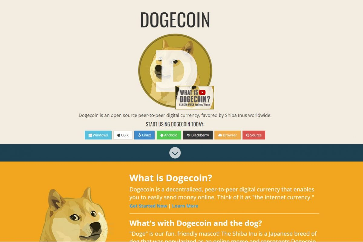 Dogecoin's website where the cryptocurrency was recently valued at $2 billion.