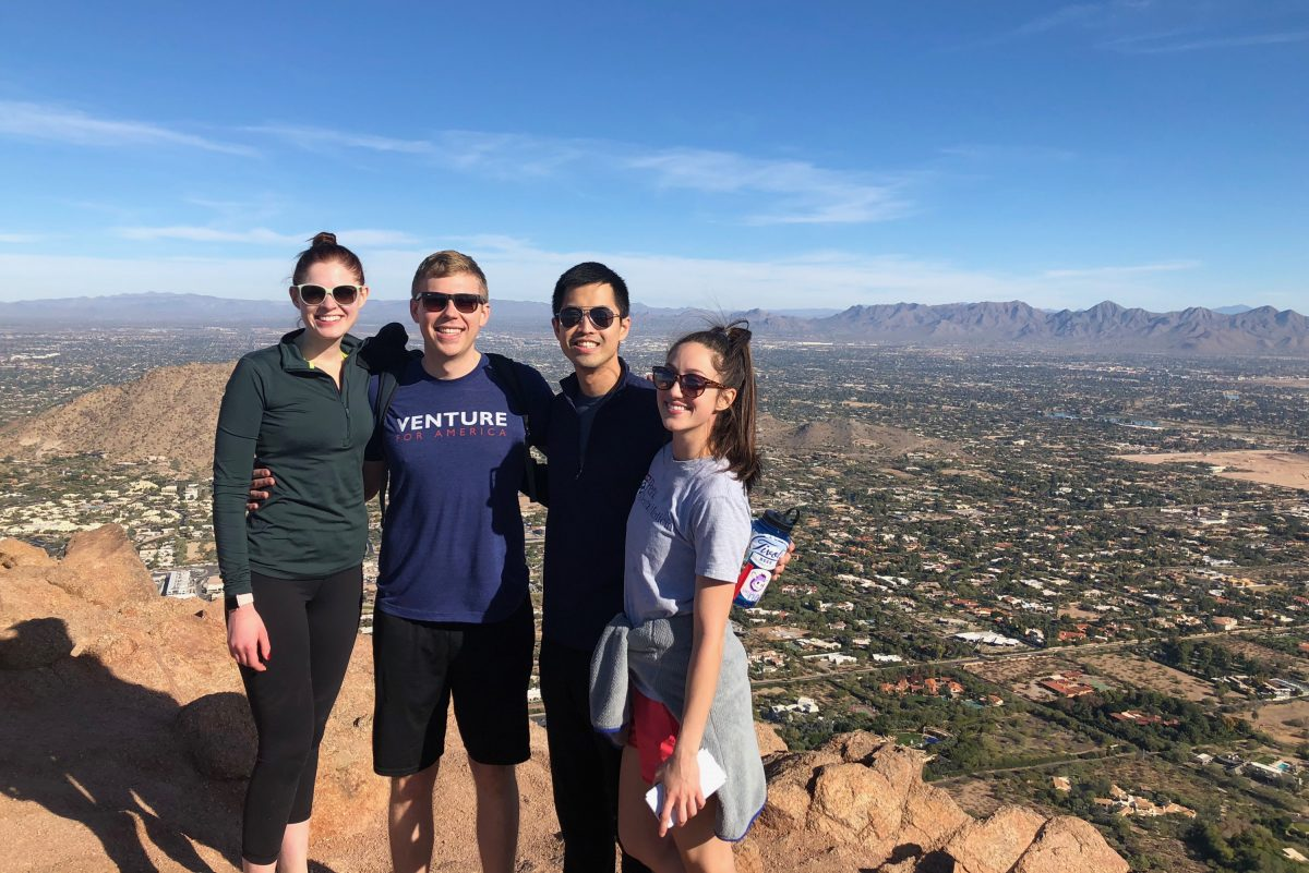 Jason Han, third from left, with Katie Turner, Derek Turner, and Taylor DeLaura recently at Camelback Mountain near Phoenix, Ariz., celebrating a new year.