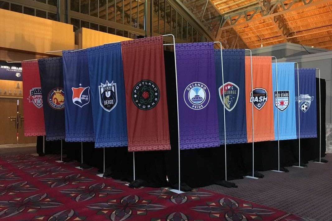 Banners representing the National Women´s Soccer League´s 10 teams outside the draft hall at the Pennsylvania Convention Center.