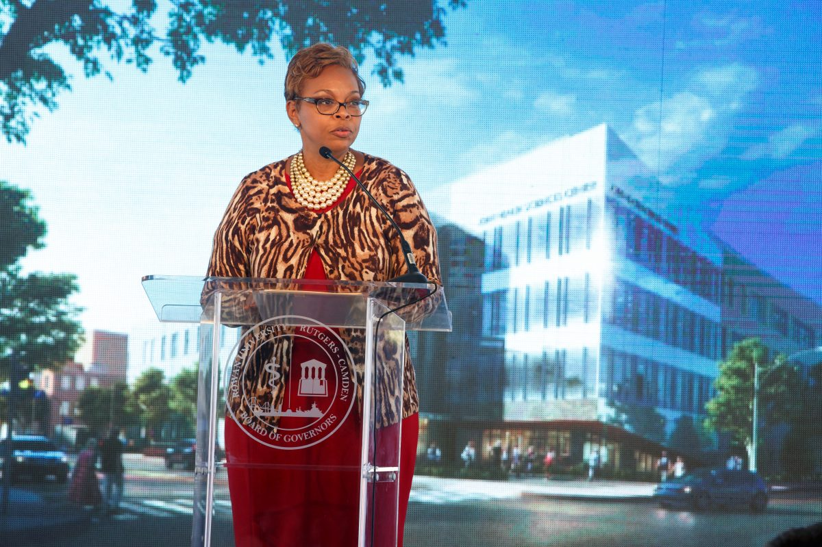 Camden Mayor Dana Redd speaks at a ceremonial groundbreaking for the for the Rutgers-Rowan Health Sciences building in downtown Camden last October.