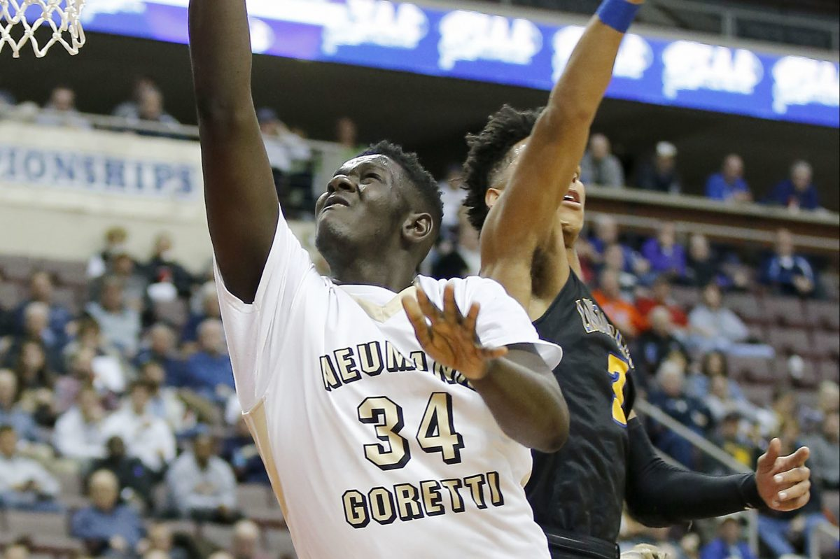 Neumann-Goretti's Marcus Littles scored 12 points in Sunday's overtime win over Father Judge. Pictured is Littles in last season's PIAA AAA boys' basketball championship on March 23, 2017 in Hershey.