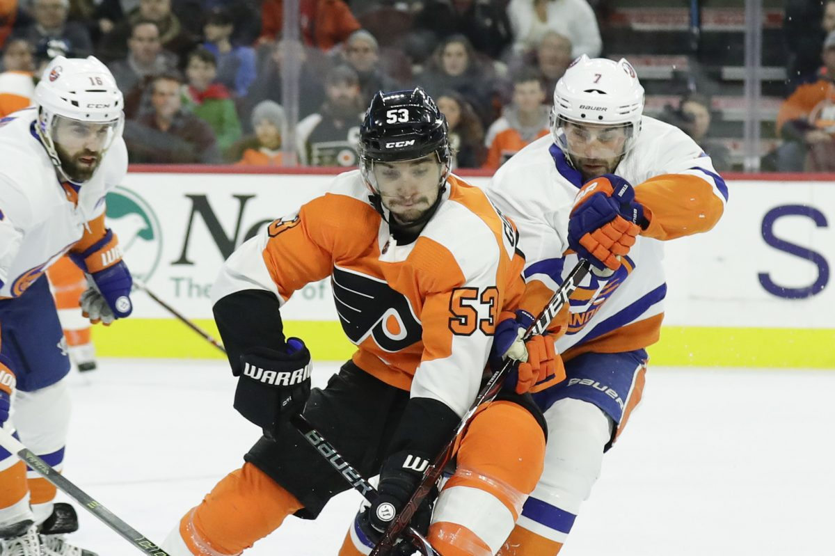 Flyers defenseman Shayne Gostisbehere (53), skating after the puck in a recent game, will return to the lineup Tuesday against the Rangers.