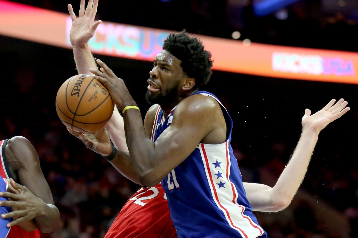 Sixers center Joel Embiid shot 11-for-21 from the field and grabbed five offensive rebounds in Monday's 117-111 win over Toronto.