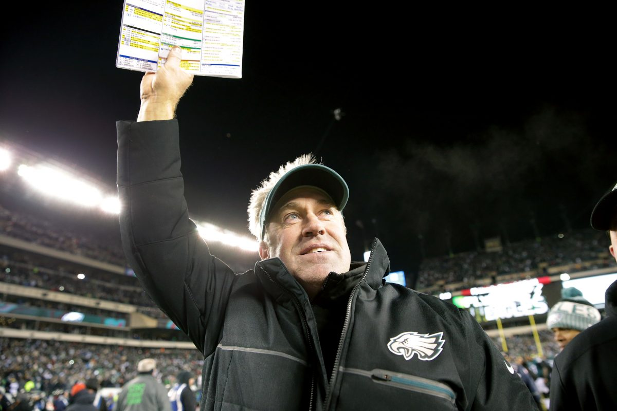 Head coach Doug Pederson celebrates after the Eagles' 15-10 playoff win over the Atlanta Falcons Saturday.
