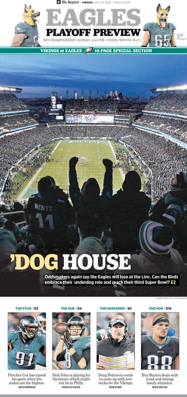 The cover of the Inquirer's Eagles-Vikings preview special section.