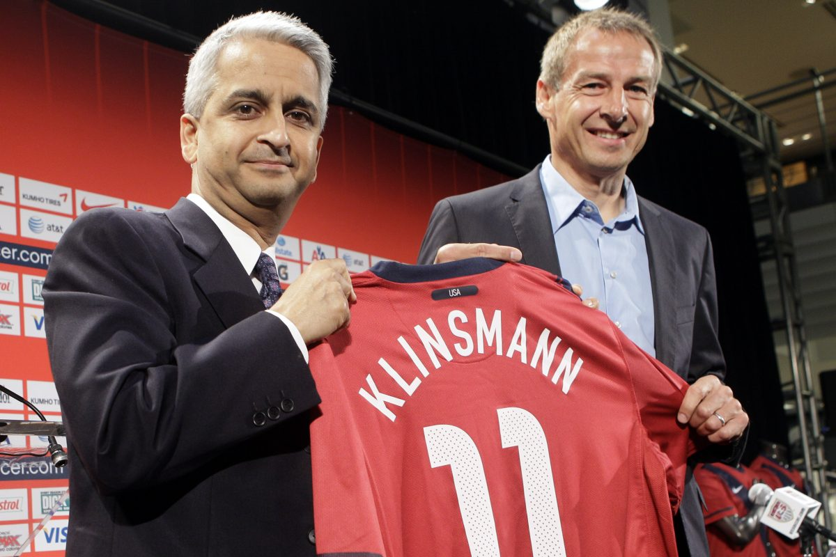 United States Soccer Federation president Sunil Gulati (left) hired Jurgen Klinsmann (right) to be the men's national team head coach in 2011, made him technical director as well in 2013, and fired him in 2016 after a streak of poor results.