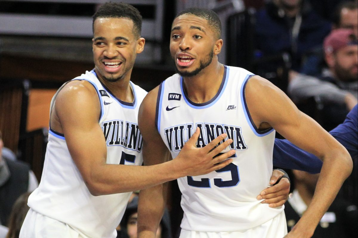 Phil Booth, left, and Mikal Bridges of Villanova at the end of their victory over Xavier at the Wells Fargo Center on Jan 10, 2018.