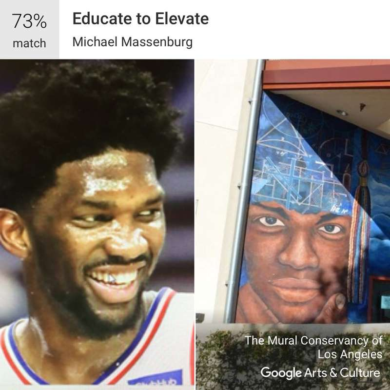 """Googles Arts & Culture app found a 73 percent match between Sixers center Joel Embiid and this figure in """"Educate to Elevate,"""" a Los Angeles mural by artist Michael Massenburg"""
