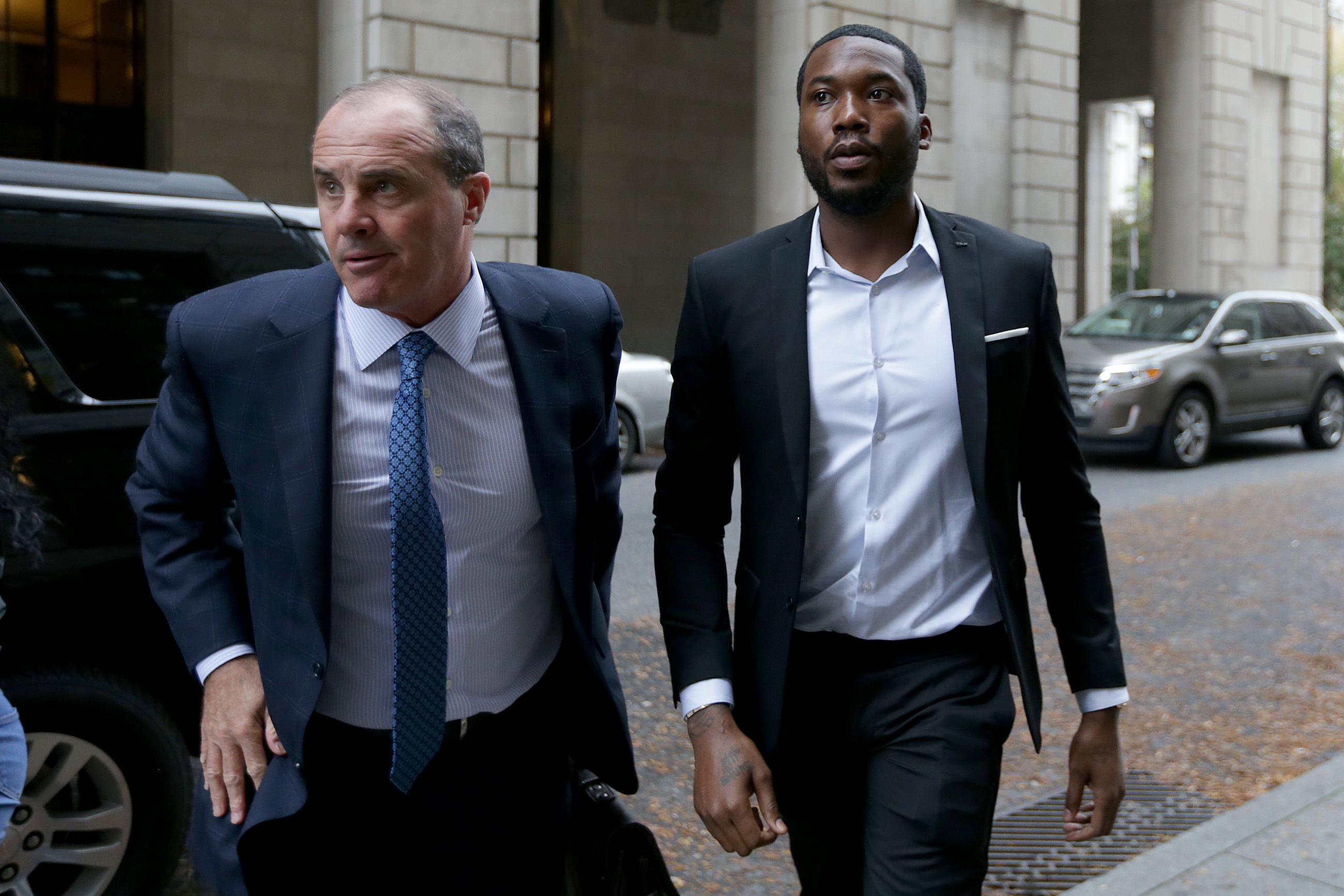 Rapper Meek Mill, right, arrives at the Criminal Justice Center in Philadelphia with his lawyer Brian McMonagle on Nov. 6, 2017.