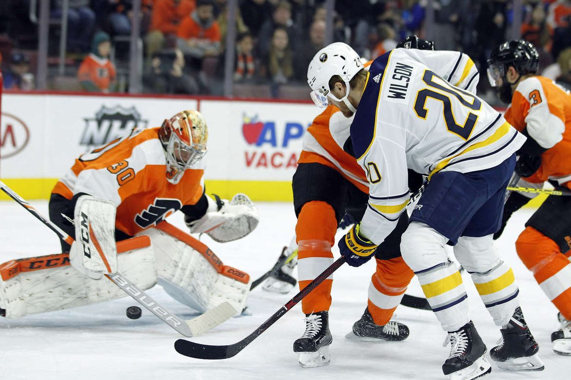 Flyers goalie Michal Neuvirth making a save during a 4-1 win over Buffalo on Jan. 7.