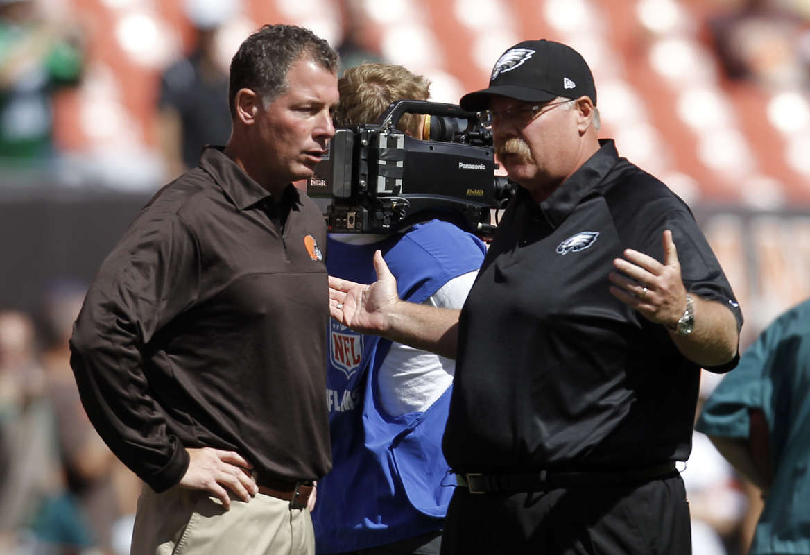 Former Eagles coach Andy Reid and former Browns head coach Pat Shurmur.