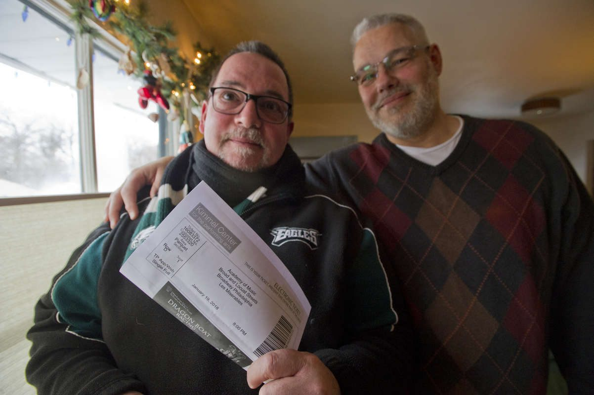 "Joe Ambrosino had a conflict with his ""Les Miserables"" show for this Sunday. His husband bought him the tickets for a Christmas present, having no idea the Eagles would be playing the same day and time in the NFL playoffs."