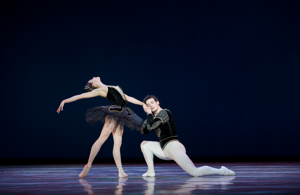 "Pennsylvania Ballet principal dancer Lillian DiPiazza and corps de ballet member Aleksey Babayev in ""Swan Lake."""