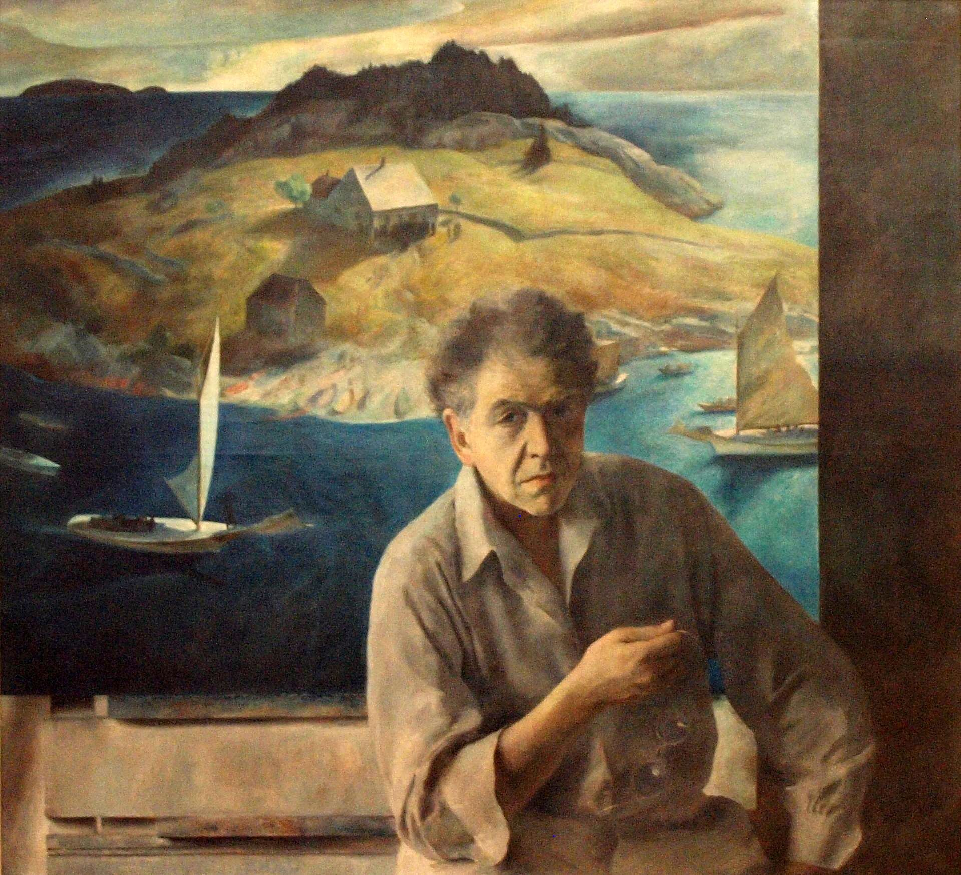 "Henriette Wyeth´s ""Portrait of My Father,"" 1939. Oil on canvas. 47 ½ x 53 in. Permanent Collection of the Roswell Museum and Art Center, Roswell, NM, Gift of Mrs. N.C. Wyeth.in exhibition Magical and Real, Michener Art Museum"