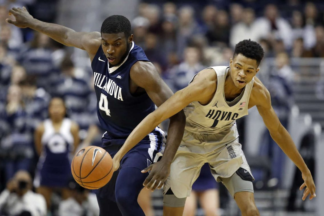 Villanova forward Eric Paschall steals the ball from Georgetown forward Jamorko Pickett  during the first half.