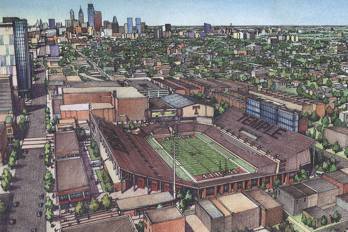 Preliminary sketch of the proposed Temple on-campus football stadium.