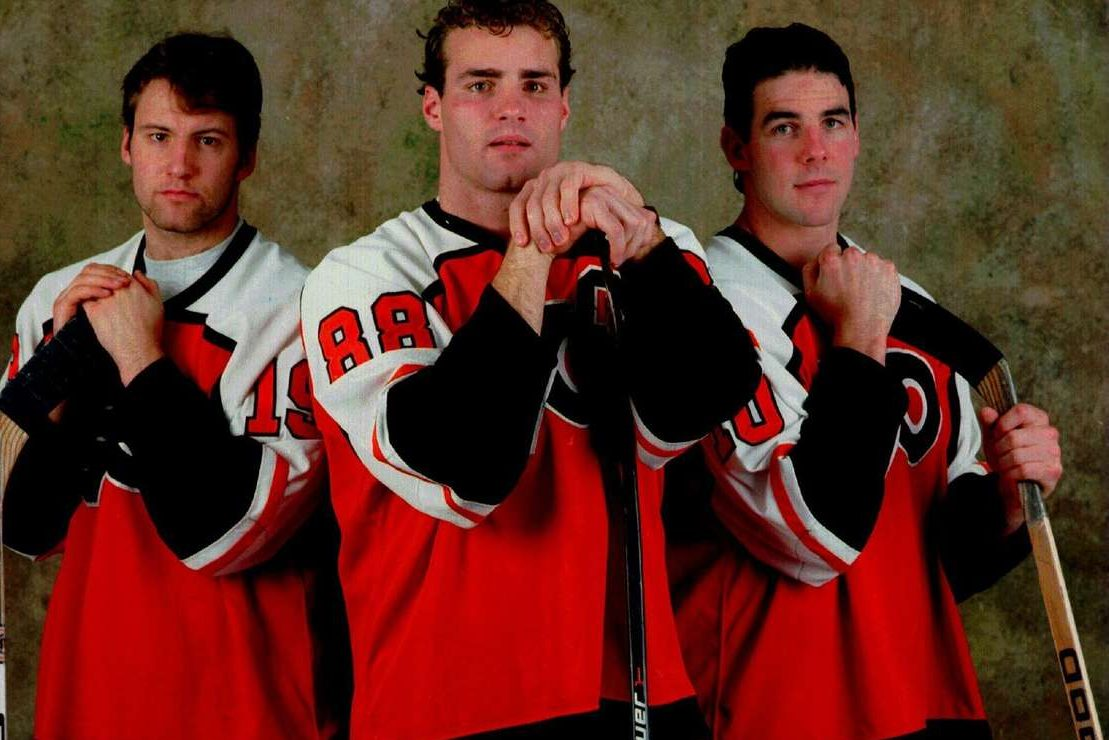 The Flyers' Legion of Doom (left to right)–Mikael Renberg, Eric Lindros and John LeClair — will be reunited before Thursday's game.