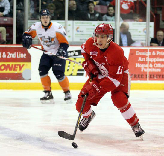 Morgan Frost playing for his current team, the Sault Set. Marie Greyhounds of the OHL. Handout