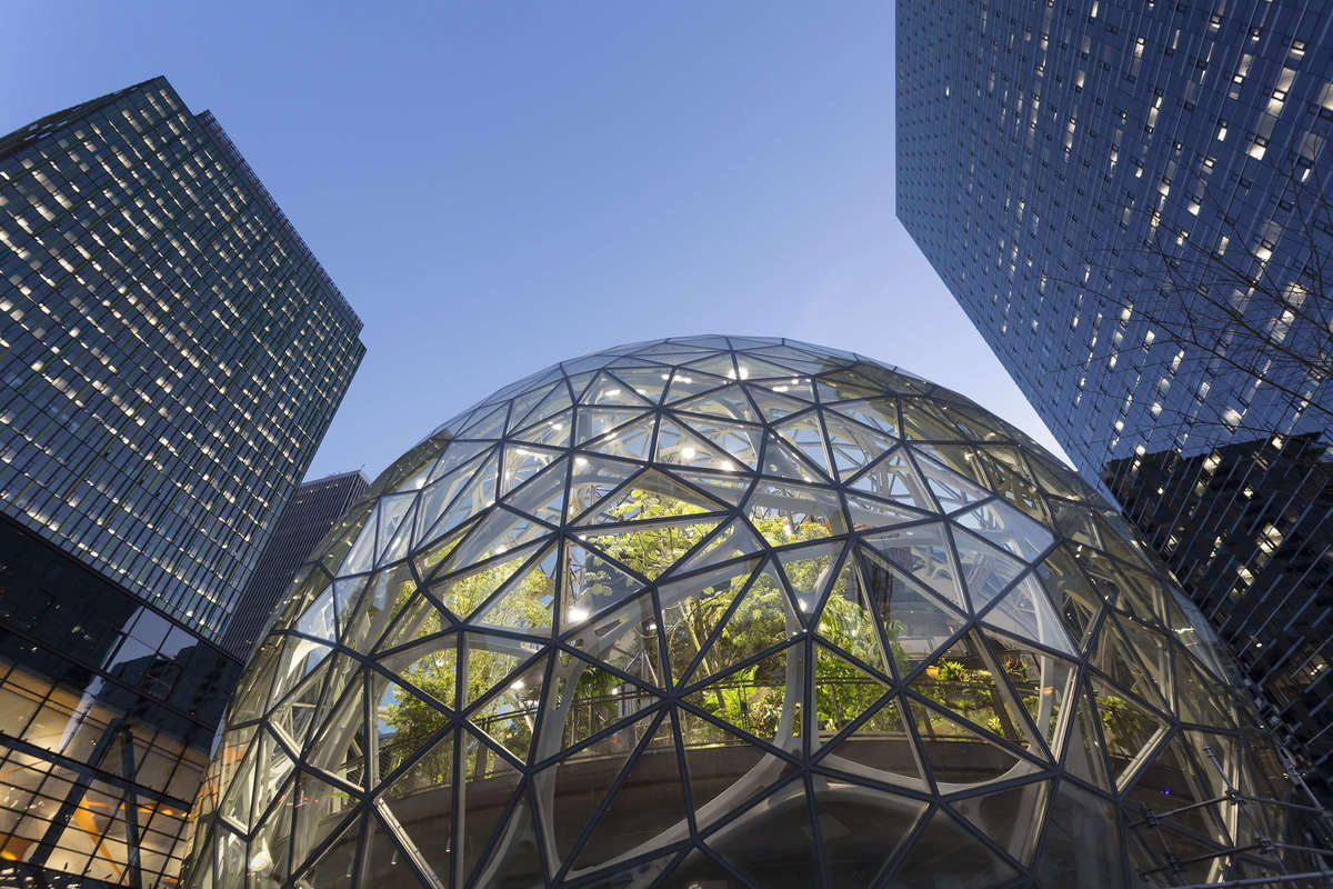 The Amazon Spheres under construction at the Amazon Urban Campus in the Belltown neighborhood of Seattle. Amazon has unveiled its 20 finalist cities in which to build its second headquarters.