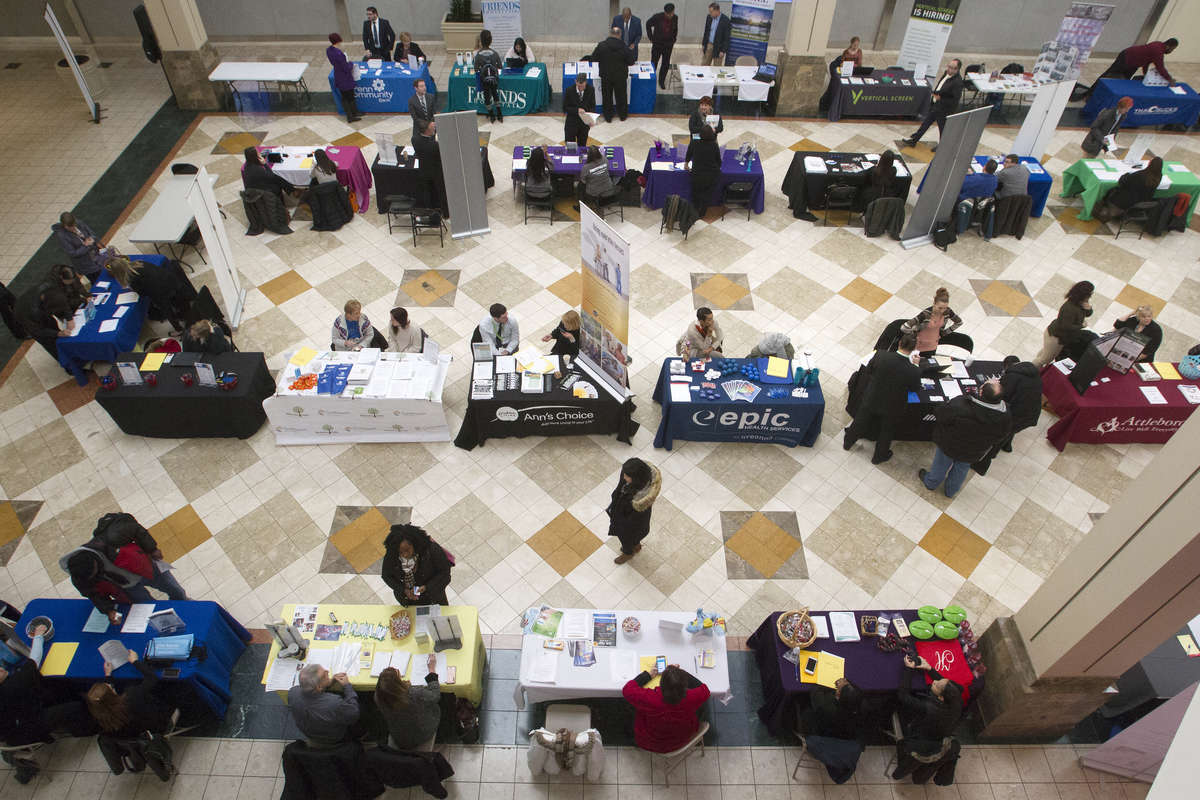 About 350 Job seekers and 40 job recruiters gathered during the New Year Job Fair inside the Sears court at Oxford Valley Mall on Wednesday.