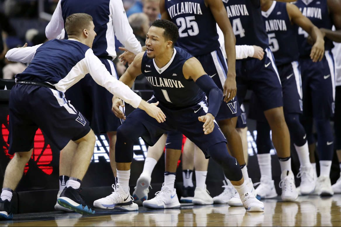 Villanova guard Jalen Brunson (1) reacts with his teammates before the first half of an NCAA college basketball game against Georgetown, Wednesday, Jan. 17, 2018, in Washington.