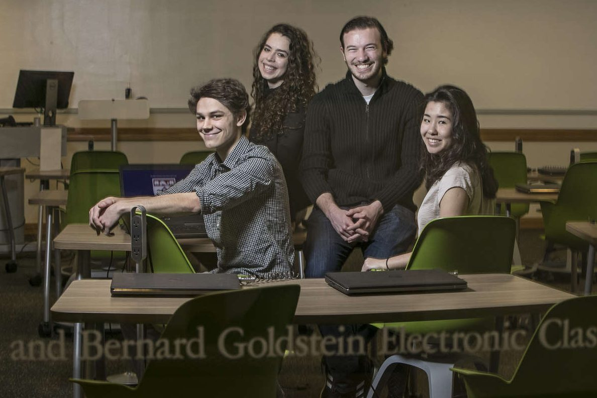 """From left to right, Bennet Caraher, Liz Reckart, Anthony Nardone and Jessica Peng are four students from the University of Penn who are one of six finalist teams in the """"Imagineering"""" competition held by Disney. MICHAEL BRYANT/ Staff Photographer"""