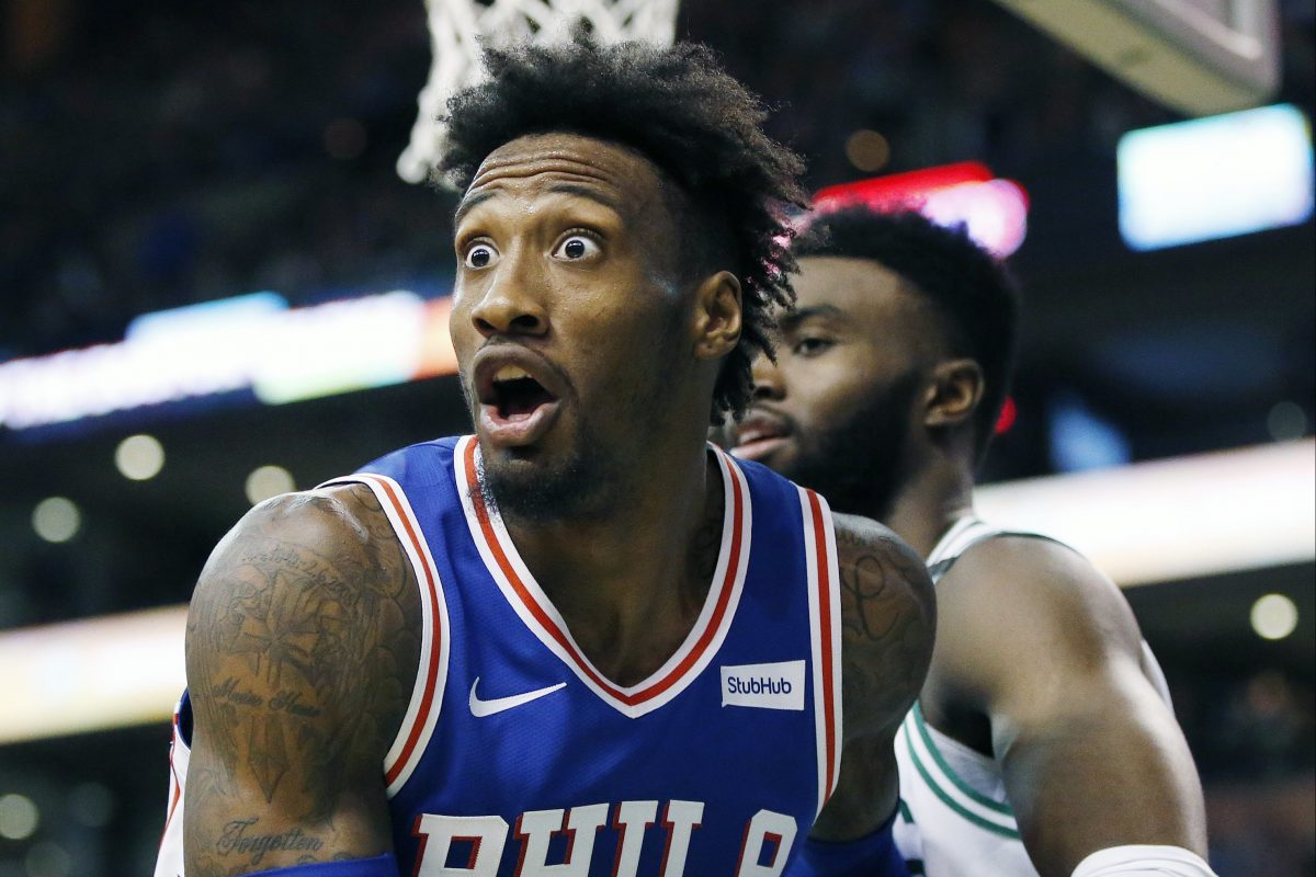 The 76ers´ Robert Covington reactiing to a call during the third quarter.