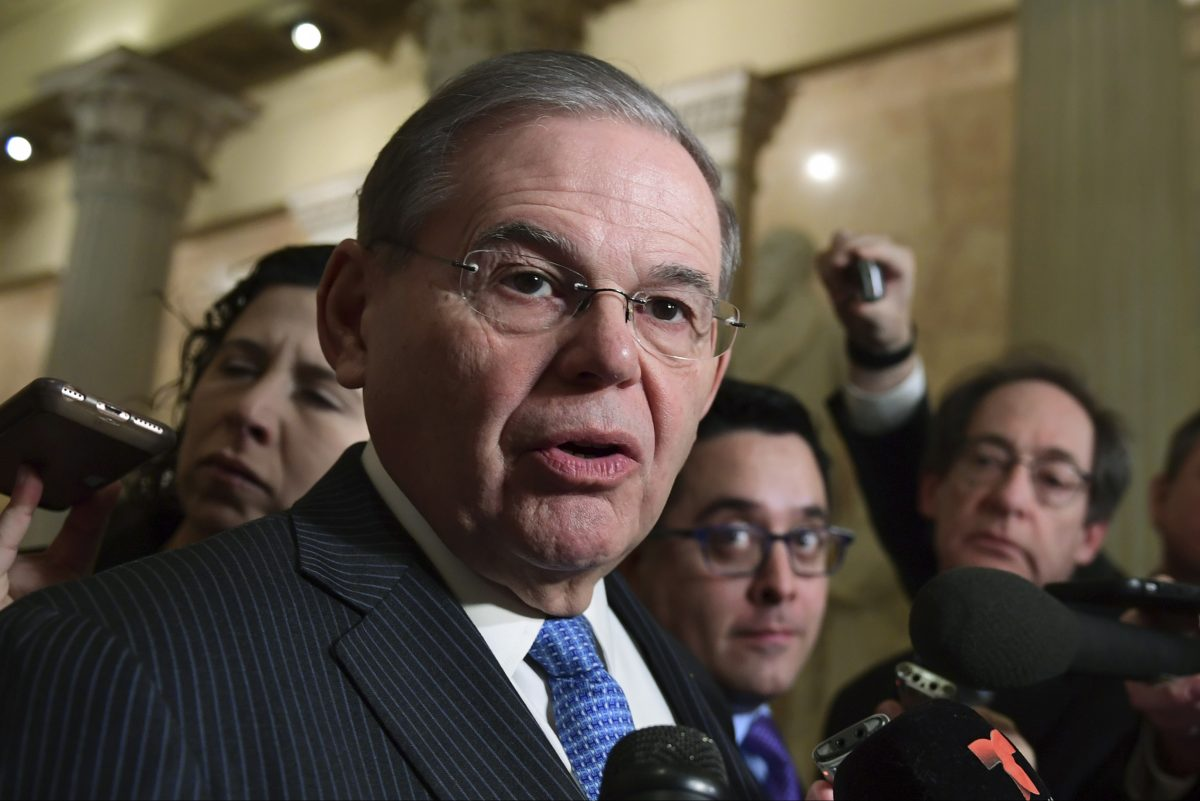 Sen. Bob Menendez, D-N.J., speaks with reporters on Capitol Hill in Washington, Wednesday, Jan. 17, 2018, following a meeting with the Congressional Hispanic Caucus and White House Chief of Staff John Kelly. AP Photo/Susan Walsh