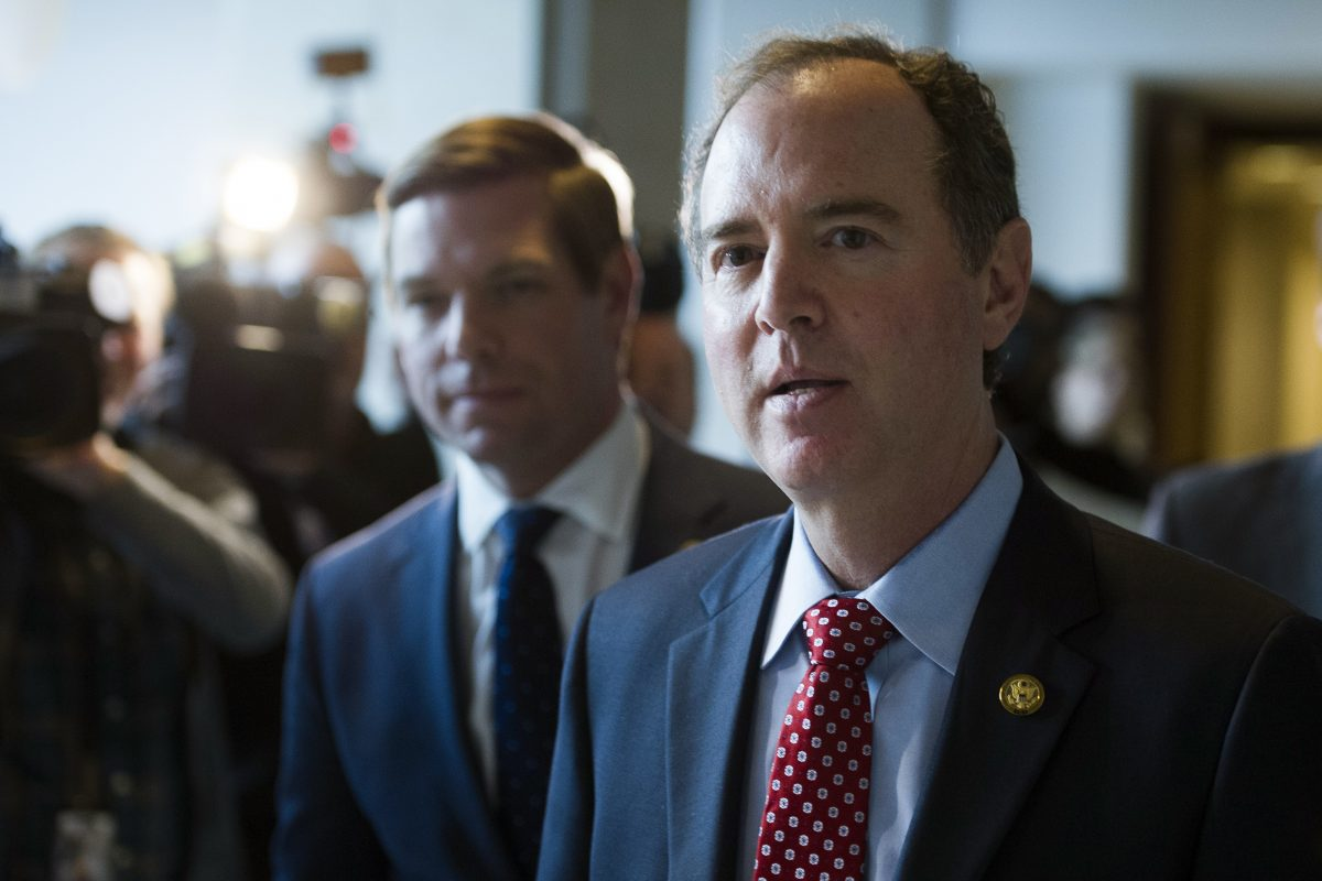 House Intelligence Committee Ranking Member Adam Schiff, D-Calif., walks from a committee meeting where former White House strategist Steve Bannon is testifying, on Capitol Hill in Washington, Tuesday, Jan. 16, 2018.