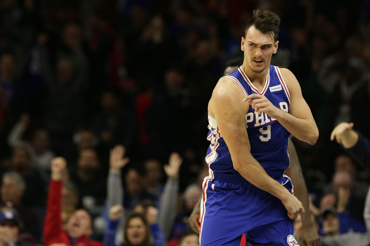 Sixers' forward Dario Saric celebrates after he hit a three-pointer against the Raptors on Martin Luther King Day.