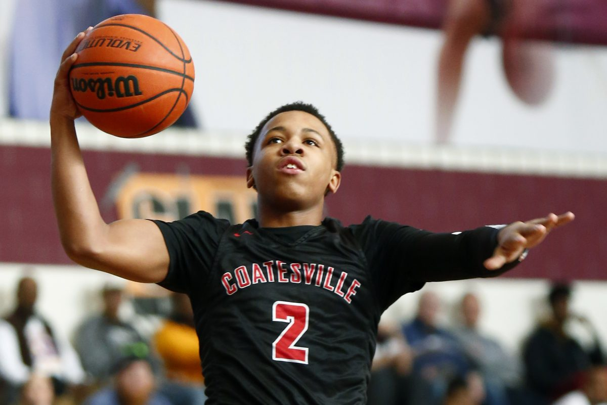 Coatesville's Jhamir Brickus drives to the basket against Shipley on Saturday.