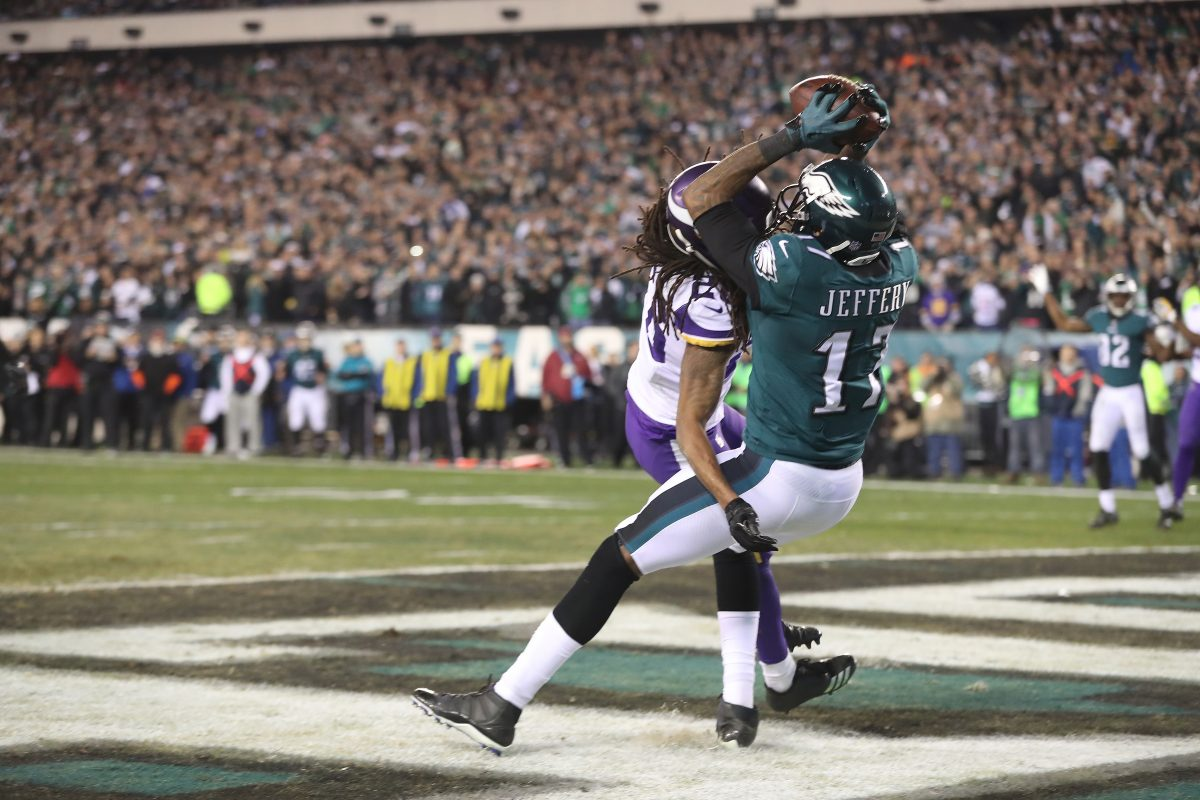 Eagles receiver Alshon Jeffery scores a fourth quarter touchdown during the NFC championship game between the Eagles and the Vikings on Sunday.