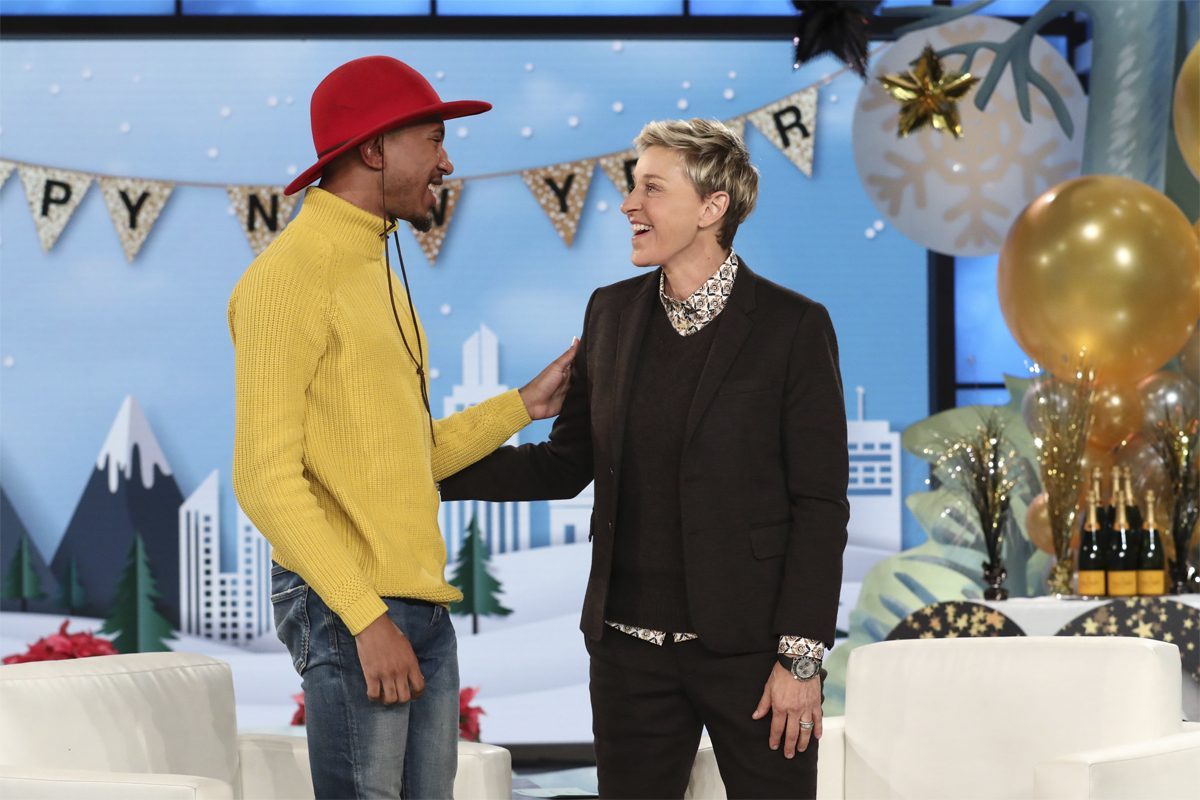 Temple University senior Kalen Allen appears alongside Ellen DeGeneres on 'Ellen,' 1/2/18.
